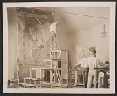 view Allen Tupper True, Paschal Quackenbush, and an unidentified man working on murals for the Colorado State Capitol building digital asset number 1