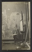 view Allen Tupper True standing in front of an unfinished Frank Brangwyn mural digital asset number 1