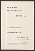 """view Exhibition Catalogue for """"New Names in American Art"""" digital asset number 1"""