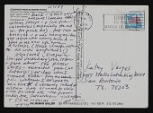 view Lucy Lippard postcard to Kathy Vargas, San Antonio, Texas digital asset number 1