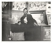 view Abraham Walkowitz in his studio with paintings digital asset number 1