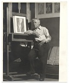 view Abraham Walkowitz standing next to an easel digital asset number 1