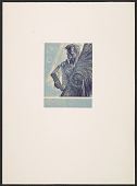 view Lynd Ward bookplate with design of a man holding a book and sheaf of wheat digital asset number 1