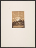 view Bookplate, Man w staff and mountain w sunrise/sunset digital asset number 1