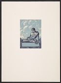 view Lynd Ward bookplate with design of a young man reading digital asset number 1