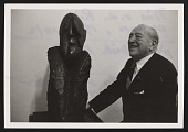 view Photograph of Ludwig Mies van der Rohe next to his portrait sculpture by Hugo Weber digital asset number 1