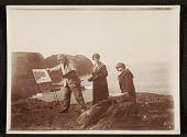 view Edwin Ambrose Webster, Georgianna Webster, and unidentified woman painting en plein air digital asset number 1