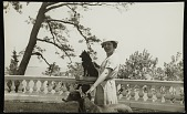 view Katharine Ward Lane Weems posed with a dog on a pedestal and holding another dog by the collar digital asset number 1