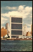 view Postcard of a view of the United Nations building from Long Island City digital asset number 1