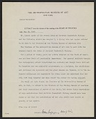 view Metropolitan Museum of Art (New York, N.Y.), New York, N.Y. memorandum to unidentified recipient digital asset: page