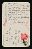 view Ana Mendieta postcard to Judith Wilson, New York, New York digital asset: postcard back