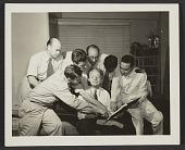 view clockwise from left: Jack Delano, John Vachon, Edwin Rossham, John Collier, Edwin Lock, Russell Lee, and Roy E. Stryker digital asset number 1