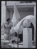 view Photograph of Jack Zajack working on sculpture <em>Big Skull and Horn</em> digital asset number 1