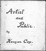 "view Writings, ""Artist and Public"" by Kenyon Cox digital asset: Writings, ""Artist and Public"" by Kenyon Cox"