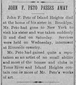 view John Frederick Peto Obituary digital asset: John Frederick Peto Obituary
