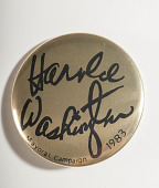 view Pinback Button, Harold Washington Mayoral Campaign digital asset number 1