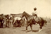 view Hector Bazy riding horse while herding horses digital asset: Hector Bazy riding horse while herding horses
