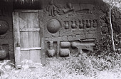 view Field Work in Benin (formerly, Dahomey): Traditional House with Mural Decoration Depicting Households, Animal and Human Figures digital asset: Field Work in Benin (formerly, Dahomey): Traditional House with Mural Decoration Depicting Households, Animal and Human Figures