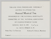 view National Association of Colored Women's Clubs Annual Musical Tea invitation digital asset: National Association of Colored Women's Clubs Annual Musical Tea invitation