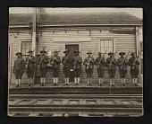 view Group of World War I soldiers at Kittery Junction Station digital asset: Group of World War I soldiers at Kittery Junction Station