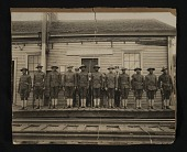view Group of World War I soldiers and railroad employees at Kittery Junction Station digital asset: Group of World War I soldiers and railroad employees at Kittery Junction Station
