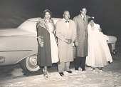 view Mr. and Mrs. Percival Bryan with friends posing by car digital asset: Mr. and Mrs. Percival Bryan with friends posing by car