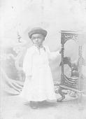 view Portrait of child wearing a hat digital asset: Cabinet card on little boy wearing a hat
