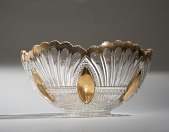 view Glass Punch Bowl with Gold Painted Trim digital asset number 1