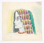 view Female Head in Headdress, Left Profile digital asset number 1