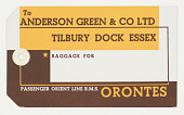 view Luggage Tag for the Orient Line's R.M.S. Orontes digital asset number 1