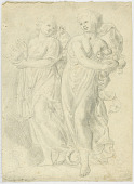 view Two Figures, Male and Female, Carrying Goods digital asset number 1