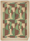view Textile Design: Cubist Forms in Rectangles digital asset number 1
