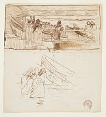 view Two Studies of Women Standing behind Railing, Looking at the Launching of Dories, Cullercoats, England digital asset number 1