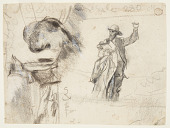 """view Two Studies of a Sailor with Raised Arm (Studies for """"The Lookout—All's Well"""" and """"The Wreck"""") digital asset number 1"""