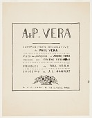 view Title Page, A & P Vera, Compositions Decoratifs/de Paul Vera/Vues de Jardins d'André Vera dessinées par Eugéne Verdeau/Meubles de Paul Vera/Coussins de J. L. Gampert digital asset number 1