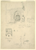 view Sketches of the House of Semon the Tanner, Jaffa, Palestine [Tel-Aviv, Israel] and Fishermen on the Rocks at Beyrout, Syria [Beirut, Lebanon] digital asset number 1