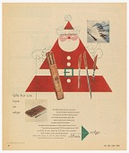 view New York Times Magazine Advertisement for ShurEdge Knives (Robeson Cutlery,Co. Inc.): Triangular Santa Claus with Knives in his Belt digital asset number 1