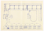 view Volksschule Stockerau (Stockerau Primary School - Floor Plan, Garden, and Front Façade Elevation) digital asset number 1