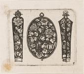"view ""Oblong Fillet Flanked by Two Needle Cases (?),"" Plate 5 from ""Goldsmith Ornament Designs"" digital asset number 1"