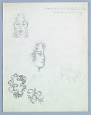 view Two Female Heads: Frontal and Right Profile; Three Ornaments digital asset number 1