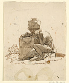 view A Mourning Woman Seated Beside a Sepulchral Monument digital asset number 1