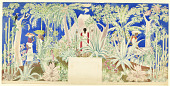 view Mural Design, A Jaguar Hunt in a Mexican Jungle, Mexican Pavilion, Cornelius Vanderbilt Whitney Estate, Old Westbury, NY digital asset number 1