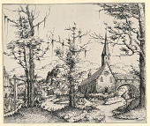 view Church by a Stream, Spanned by a Covered Bridge digital asset number 1