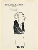 view Waiter, Caricature on Menu from Grand Hotel de la Poste, Rouen digital asset number 1
