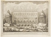 view The temples of Apollo and Diana built for the first day of the fireworks at SS. Peter and Paul by Paolo Posi digital asset number 1