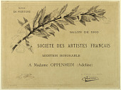view Mention Honorable a Madame Oppenheim (Adeline), Société des Artistes Français, Salon de 1900, Section de Peinture digital asset number 1