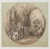 view Design for a Painted Porcelain Plate, Garden Scene from the Service de la Culture des Fleurs (Flower Cultivation Service) digital asset number 1