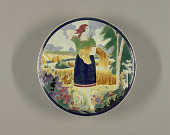 view Plate with Scene of Woman Harvesting Wheat digital asset number 1