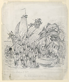 """view """"The Brownies on Samar"""": Sailing a Prahu, Illustration for """"The Brownies in the Phillippines"""" (New York, Century Company, 1904, p. 109) digital asset number 1"""