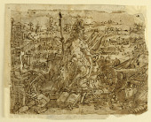 """view Recto: Minerva, or """"Arma"""" (Allegory of the Art of War), preliminary design for pl. 2 in the Schema, seu Speculum Principum (Skills of a Prince) series; Verso, above: Deer Hunt with Lassos; Below: Board Hunt with Shotguns digital asset number 1"""